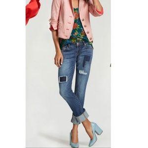 CAbi Patchy Slim Boyfriend Jeans NWOT